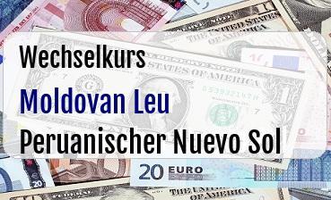 Moldovan Leu in Peruanischer Nuevo Sol