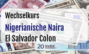 Nigerianische Naira in El Salvador Colon