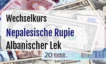 Nepalesische Rupie in Albanischer Lek