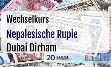 Nepalesische Rupie in Dubai Dirham