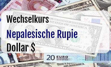 Nepalesische Rupie in US Dollar