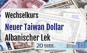 Neuer Taiwan Dollar in Albanischer Lek