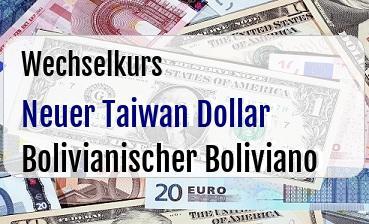 Neuer Taiwan Dollar in Bolivianischer Boliviano