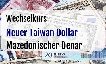 Neuer Taiwan Dollar in Mazedonischer Denar