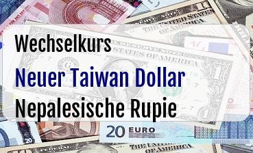 Neuer Taiwan Dollar in Nepalesische Rupie