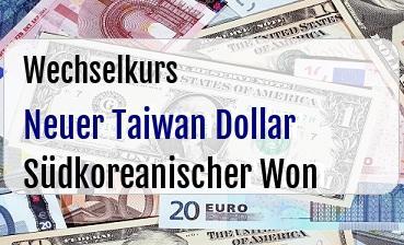 Neuer Taiwan Dollar in Südkoreanischer Won