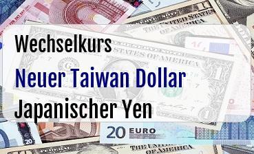Neuer Taiwan Dollar in Japanischer Yen