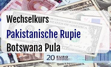 Pakistanische Rupie in Botswana Pula