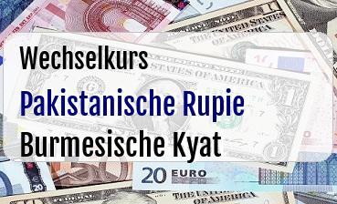 Pakistanische Rupie in Burmesische Kyat