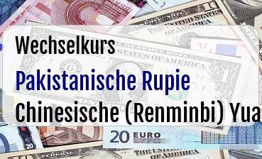 Pakistanische Rupie in Chinesische (Renminbi) Yuan