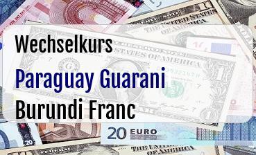 Paraguay Guarani in Burundi Franc