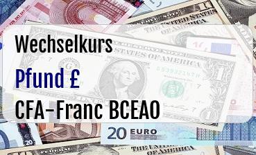 Britische Pfund in CFA-Franc BCEAO