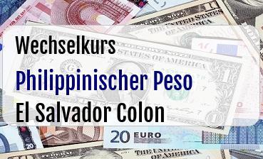 Philippinischer Peso in El Salvador Colon
