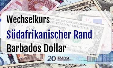 Südafrikanischer Rand in Barbados Dollar