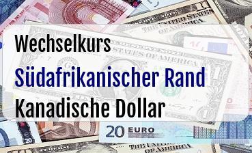 Südafrikanischer Rand in Kanadische Dollar