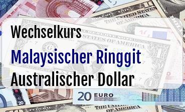 Malaysischer Ringgit in Australischer Dollar