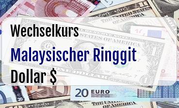 Malaysischer Ringgit in US Dollar