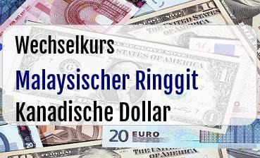 Malaysischer Ringgit in Kanadische Dollar