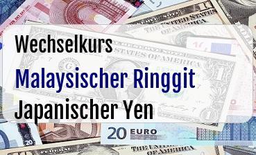 Malaysischer Ringgit in Japanischer Yen