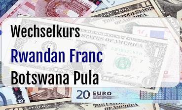Rwandan Franc in Botswana Pula