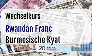 Rwandan Franc in Burmesische Kyat