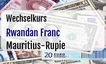 Rwandan Franc in Mauritius-Rupie