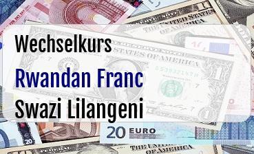 Rwandan Franc in Swazi Lilangeni