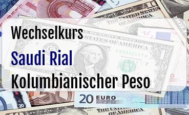 Saudi Rial in Kolumbianischer Peso