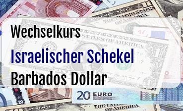 Israelischer Schekel in Barbados Dollar