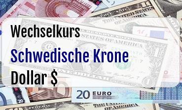 Schwedische Krone in US Dollar