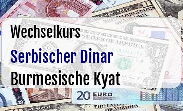 Serbischer Dinar in Burmesische Kyat