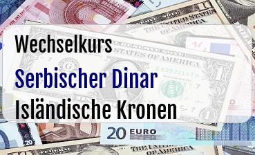 Serbischer Dinar in Isländische Kronen