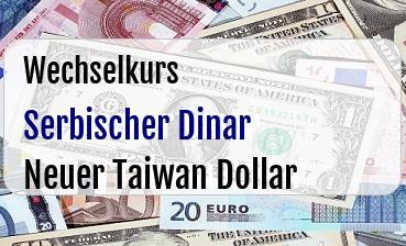 Serbischer Dinar in Neuer Taiwan Dollar