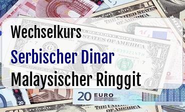 Serbischer Dinar in Malaysischer Ringgit