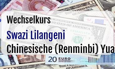 Swazi Lilangeni in Chinesische (Renminbi) Yuan
