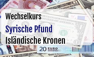 Syrische Pfund in Isländische Kronen