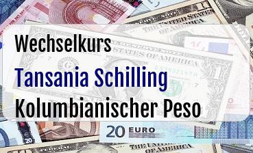 Tansania Schilling in Kolumbianischer Peso