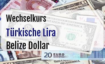 Türkische Lira in Belize Dollar