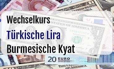 Türkische Lira in Burmesische Kyat