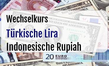 Türkische Lira in Indonesische Rupiah