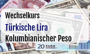 Türkische Lira in Kolumbianischer Peso