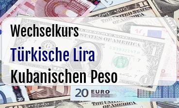 Türkische Lira in Kubanischen Peso