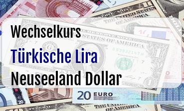 Türkische Lira in Neuseeland Dollar