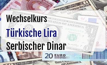 Türkische Lira in Serbischer Dinar
