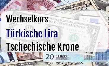 Türkische Lira in Tschechische Krone