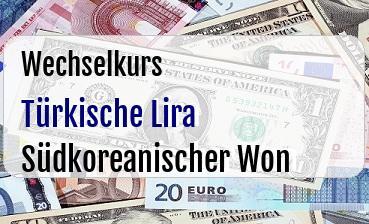 Türkische Lira in Südkoreanischer Won