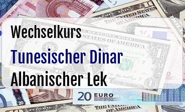 Tunesischer Dinar in Albanischer Lek