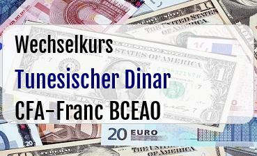 Tunesischer Dinar in CFA-Franc BCEAO
