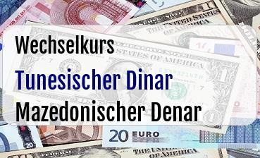 Tunesischer Dinar in Mazedonischer Denar