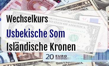 Usbekische Som in Isländische Kronen